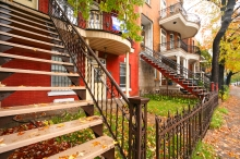 Typical Montreal row houses with exterior staircases and balconies which have become symbols of the city.